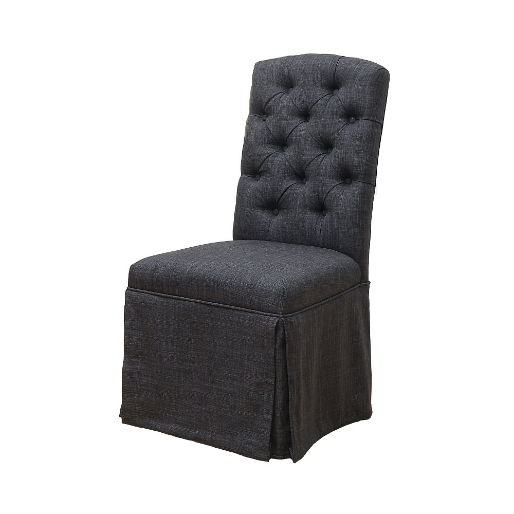 Iohomes Palmquist Transitional Button Tufted Dining Chair Dark Gray - Homes: Inside + Out