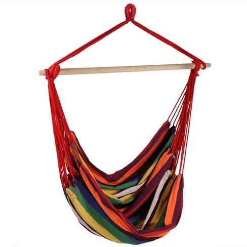 Sunset Jumbo Hanging Rope Hammock Chair Swing - Orange/Red - Sunnydaze Decor - image 1 of 4