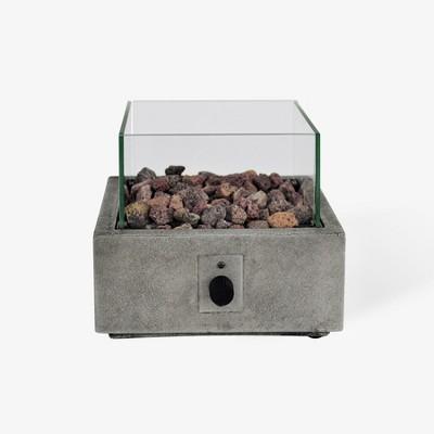 Argent 10  Square Cement Tabletop Fire Pit - Gray - Bond