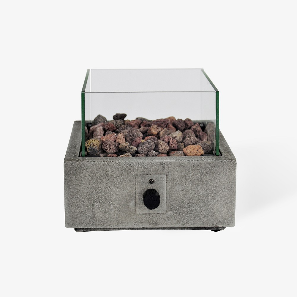 Image of Argent 10 Square Cement Tabletop Fire Pit - Gray - Bond
