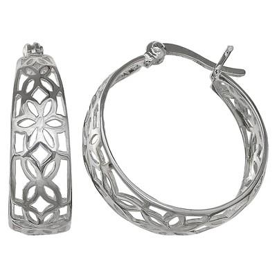 Women's Flower Scroll Graduated Hoop Earrings in Sterling Silver - Gray (20mm)