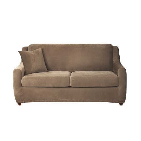 Peachy Stretch Pique 4Pc Full Size Sleeper Sofa Slipcover Taupe Sure Fit Download Free Architecture Designs Ponolprimenicaraguapropertycom