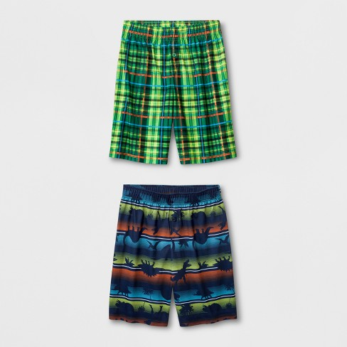 Boys' 2pk Dino Print And Plaid Pajama Shorts - Cat & Jack™ Blue/Green - image 1 of 1
