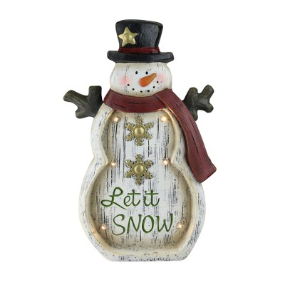 "Northlight 15"" LED Lighted Weathered Snowman and Snowflake Table Top Christmas Decoration"