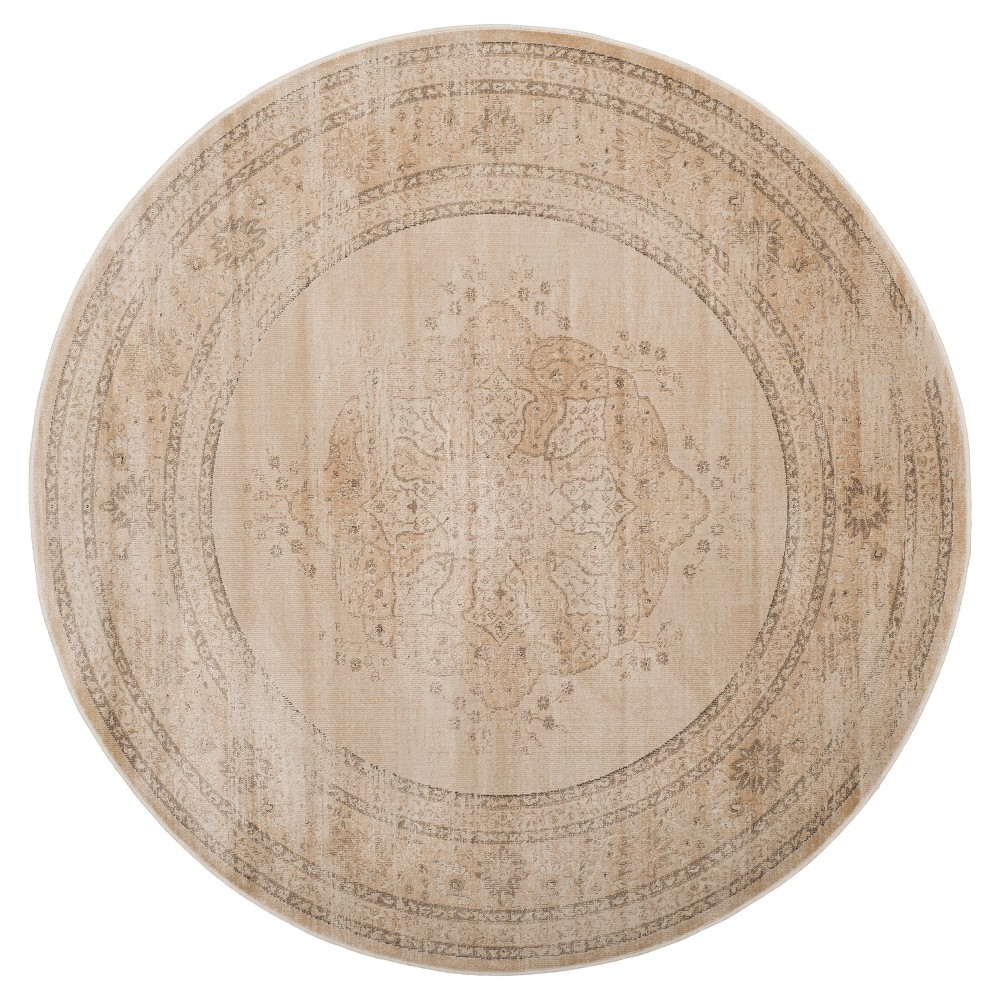 Creme Abstract Loomed Round Area Rug - (6') - Safavieh