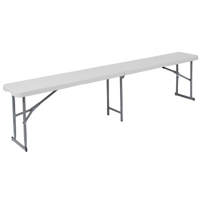 Flash Furniture 10.25''W x 71''L Bi-Fold Granite White Plastic Bench with Carrying Handle
