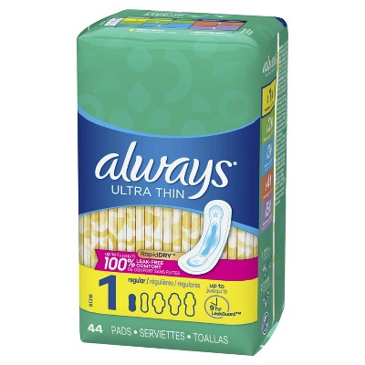 Always Ultra Thin Pads Size 1 Regular Absorbency Unscented - 44ct : Target