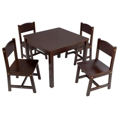 Fabulous Farmhouse Table 4 Chair Espresso Kidkraft Andrewgaddart Wooden Chair Designs For Living Room Andrewgaddartcom