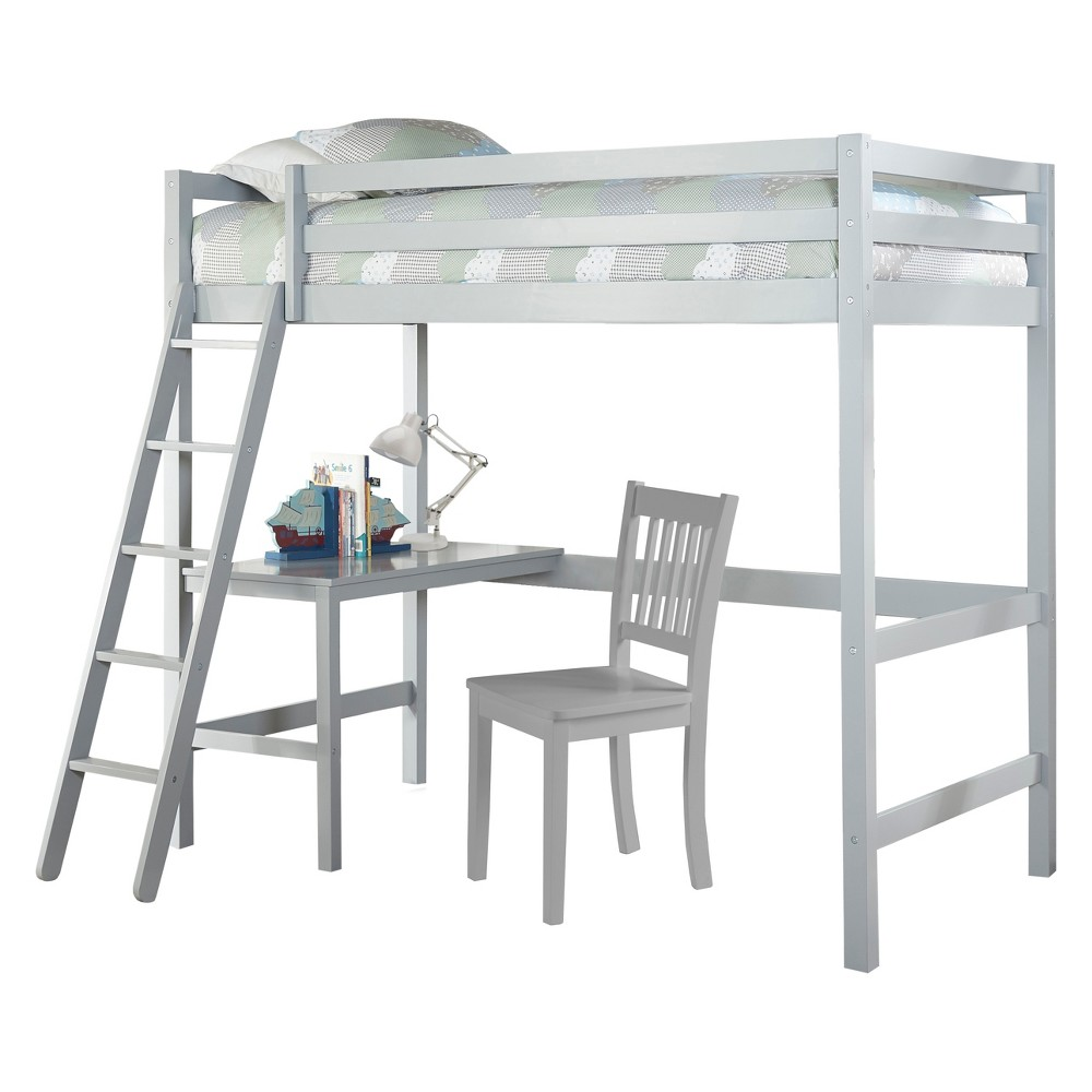 Twin Caspian Study Loft with Chair Gray - Hillsdale Furniture
