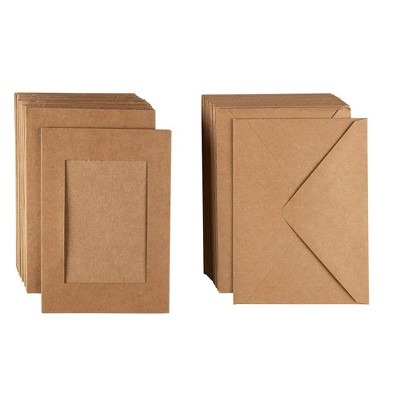 """48-Pack Photo Insert Greeting Cards with Envelopes Included, Kraft Brown Paper, Holds 4"""" x 6"""" Photos"""