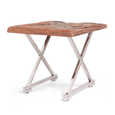 Treutlen Handcrafted Boho Wooden End Table Natural/Silver - Christopher Knight Home