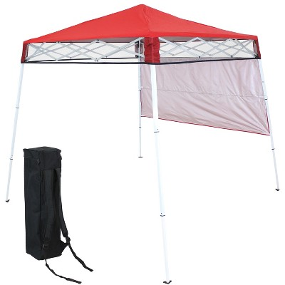 Sunnydaze 6' x 6' Top/7.5' x 7.5' Bottom Slant Leg Portable Backpack Canopy - Red