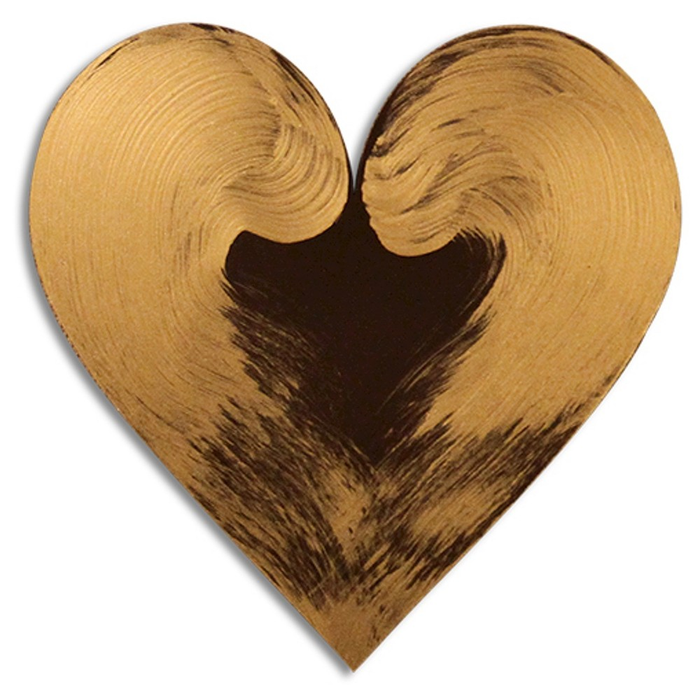 Image of Letter2Word Hand Painted Heart 3D Wall Sculpture - Gold, Brushed Nickel