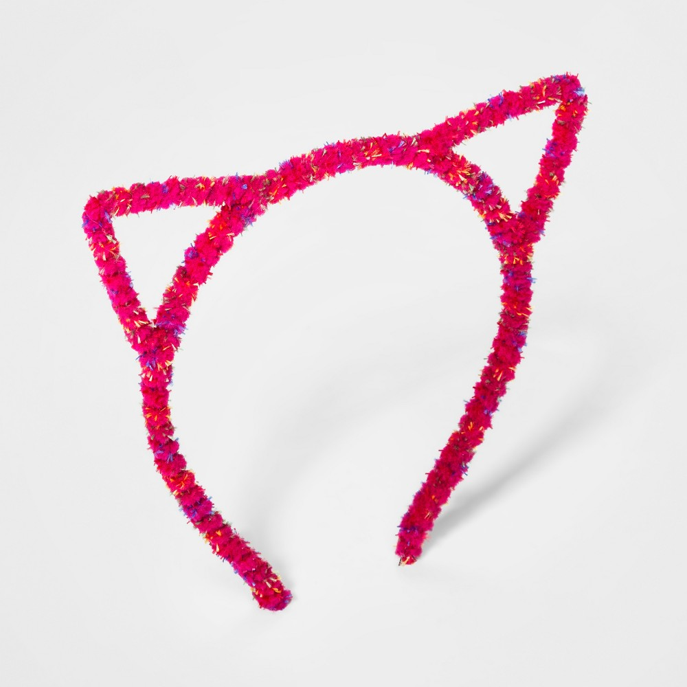 Girls' Fuzzy Cat Ears Headband - Cat & Jack Fuchsia (Pink)