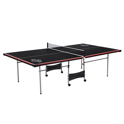 Lancaster 4 Piece Official Tournament Size Folding Table Tennis Ping Pong Game Table, Black