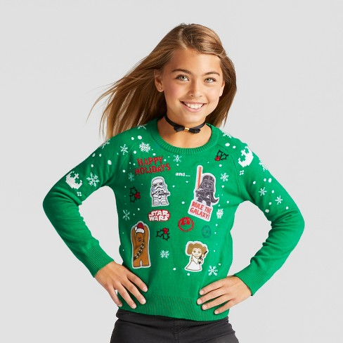 Girls' Star Wars Ugly Christmas Long Sleeve Sweater - Green - image 1 of 4