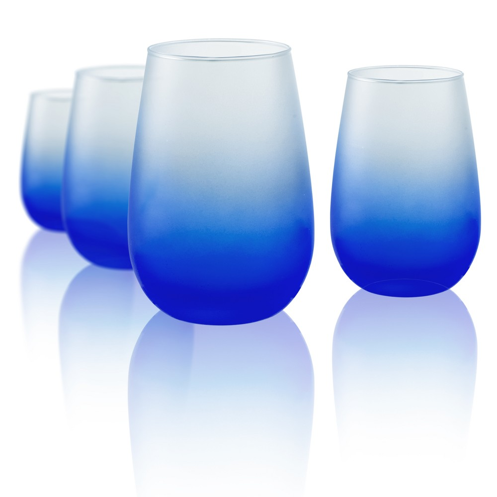 Image of Artland 12oz 4pk Frost Shadow Stemless Wine Glasses Blue