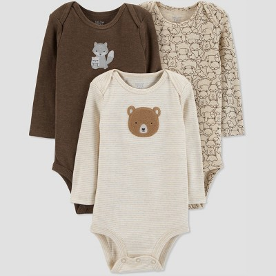 Baby Boys' 3pk Long Sleeve Fox Bodysuit - Just One You® made by carter's Brown Newborn