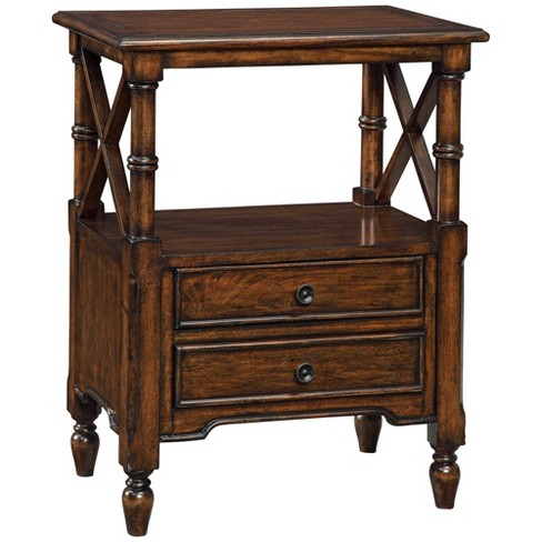 """Coast to Coast Tamryn 24"""" Wide Brown Cherry 2-Drawer Accent Table - image 1 of 4"""