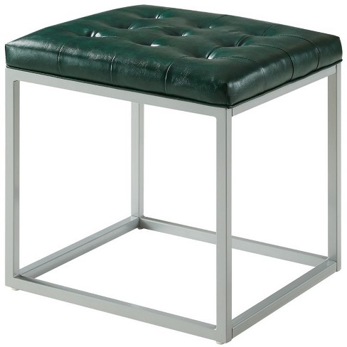 Nolan Green Cube Ottoman - PU Leather - Button Tufted - Metal Frame in Green - Posh Living - image 1 of 3