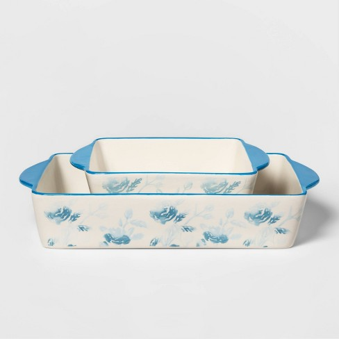 2pc Stoneware Floral Bakeware Set Blue - Threshold™ - image 1 of 2