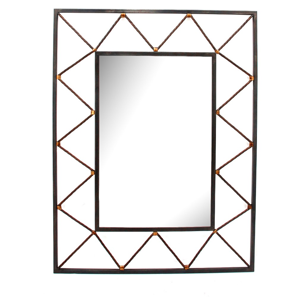 "Image of ""27""""x35.4"""" Rectangle Decorative Wall Mirror Iron Gray - Home Source"""