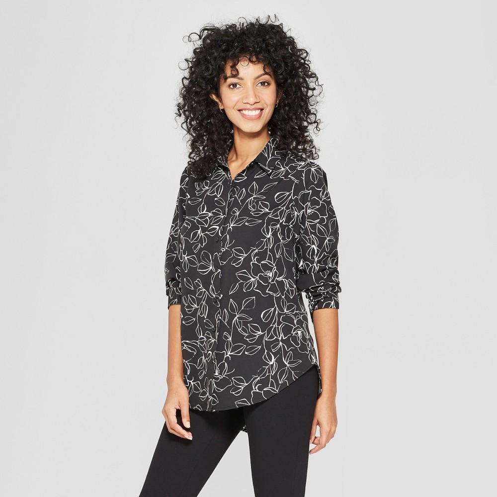 Women's Floral Print Long Sleeve Shirt - A New Day Black Xxl