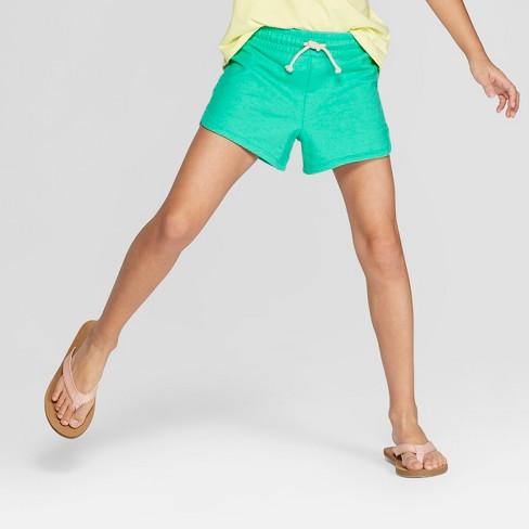 Girls' Knit Shorts - Cat & Jack™ Green - image 1 of 3