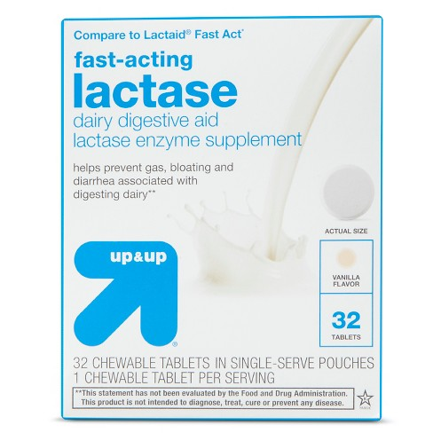 Fast-Acting Lactase Dairy Digestive Supplement Chewable Tablets - Vanilla - 32ct - up & up™ - image 1 of 1