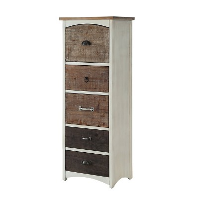 Edwin Tall Wood Cabinet White/Natural - Powell Company