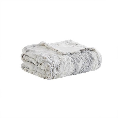 "50""x70"" Aina Marble Faux Fur Heated Throw Blanket Natural - Beautyrest"