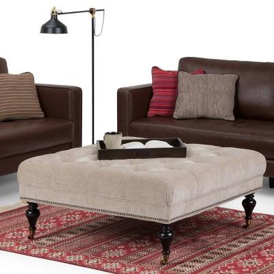 Bon Marcel Large Square Coffee Table Ottoman Warm Gray Fabric   Wyndenhall
