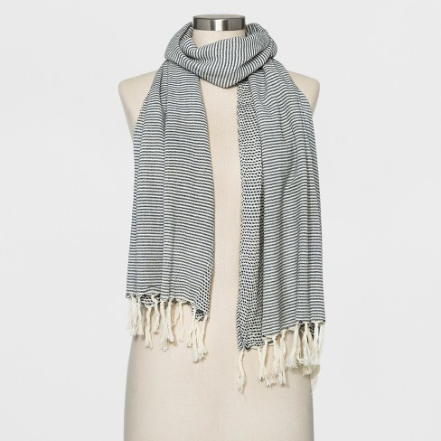 Women's Striped Woven Oblong Scarf - Universal Thread™ White - image 1 of 2