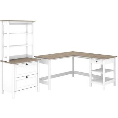 Bush Furniture L-Shaped Computer Desk w/Lateral File Hutch Pure White/Shiplap Gray MAY015GW2