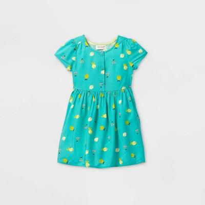 Toddler Girls' Fruit Button-Front Short Sleeve Dress - Cat & Jack™ Teal