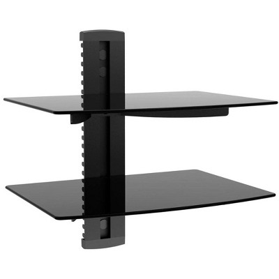 Monoprice 2 Shelf Wall Mount Bracket for TV Components with Weight Capacity 17.6lbs each shelf