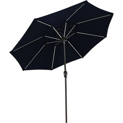 Sunnydaze Outdoor Solution-Dyed Sunbrella Pool Patio Umbrella with Solar LED Light Bars and Tilt - 9' - Navy Blue