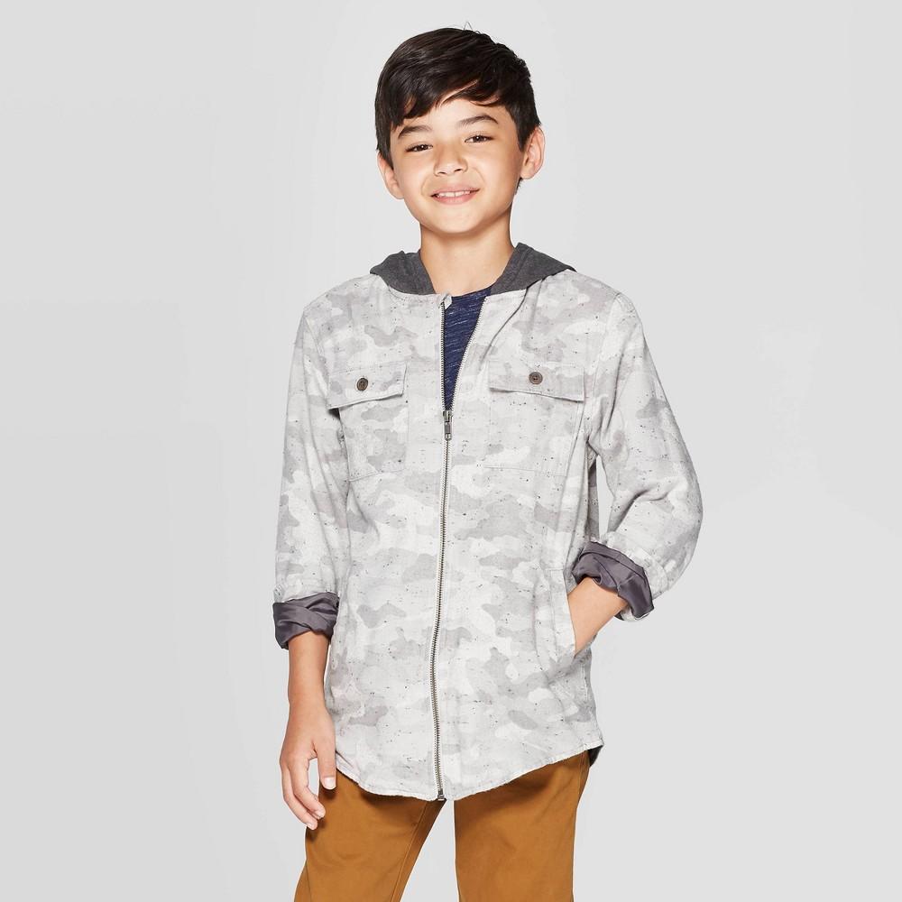 Boys' Long Sleeve Shirt Jacket - Cat & Jack Gray XL thumbnail