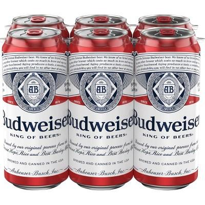 Budweiser Lager Beer - 6pk/16 fl oz Cans