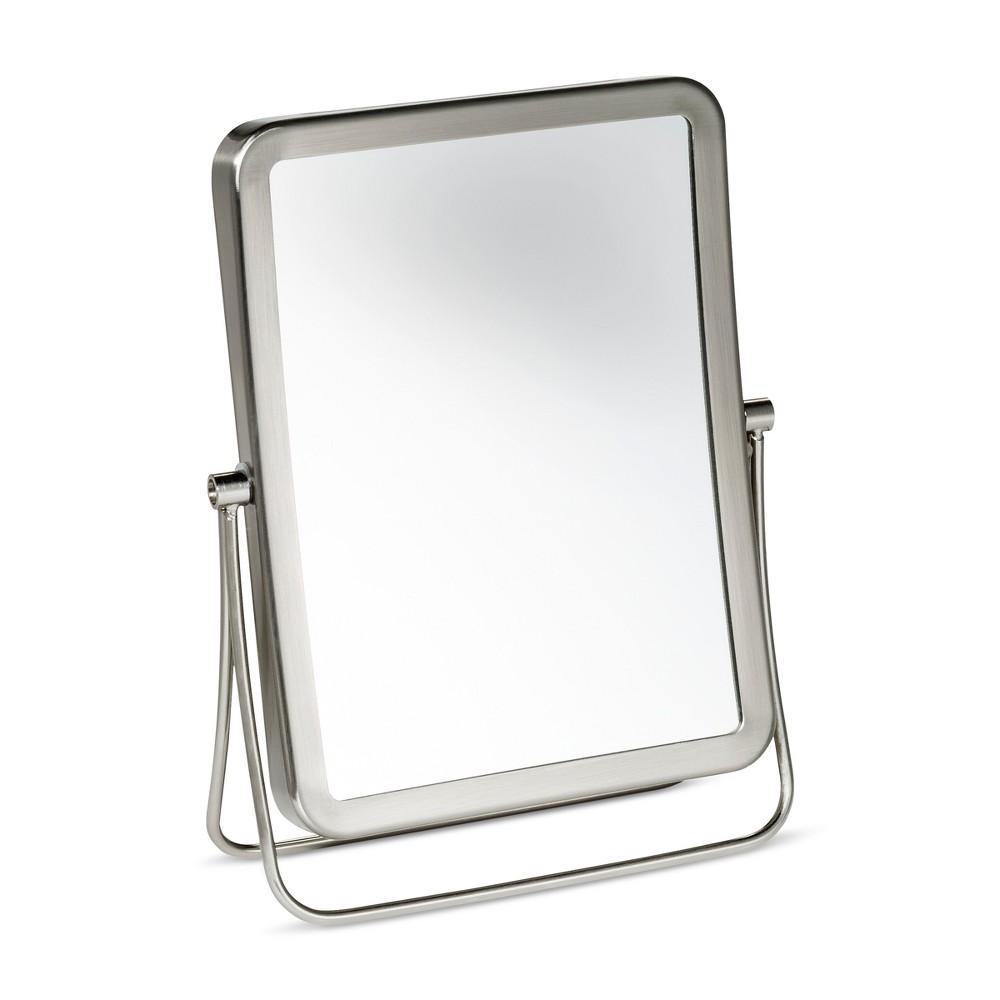 Rectangular Vanity Makeup Mirror Brushed Nickel - 88 Main, Silver