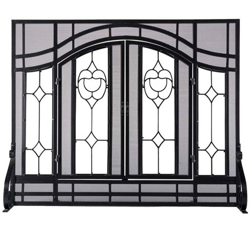 2-Door Large Floral Fireplace Fire Screen With Beveled Glass Panels, Black - Plow & Hearth - image 1 of 4