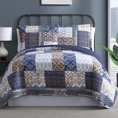 Modern Threads 100% Cotton 2 Or 3 Piece Printed Reversible Quilt Sets Laura.