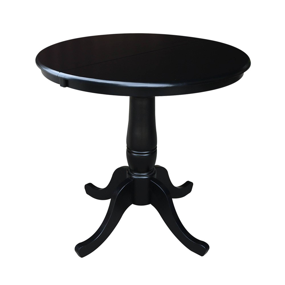 Phenomenal 36 Round Top Pedestal Dining Table With 12 Leaf Black Home Interior And Landscaping Ferensignezvosmurscom
