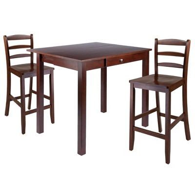 3pc Perrone Counter Height Drop Leaf Dining Table Set with Ladder Back Chair Walnut - Winsome