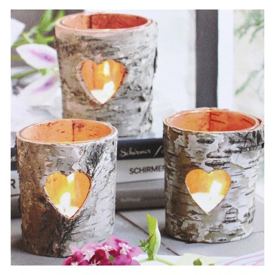 """Northlight Valentine's Day 12"""" x 12"""" Prelit LED Flickering Rustic Birch Wood Candles Canvas Wall Art"""