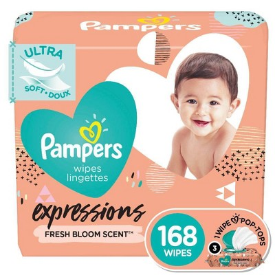 Pampers Expressions Fresh Bloom Baby Wipes 3x - 168ct