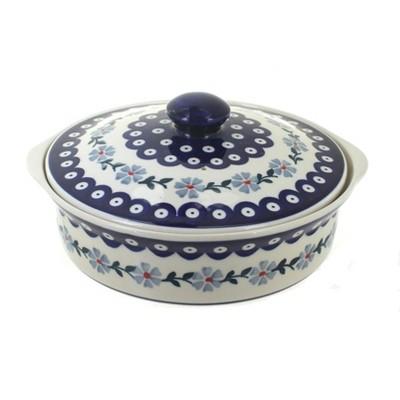 Blue Rose Polish Pottery Blue Violet Round Baker with Lid