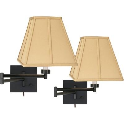 Franklin Iron Works Modern Swing Arm Wall Lamps Set of 2 Espresso Bronze Plug-In Light Fixture Golden Tan Square Bedroom Bedside