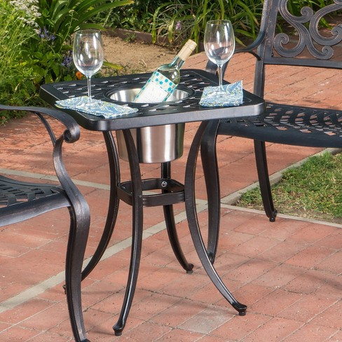 Ava Cast Aluminum Chat Table With Ice Bucket Patina Copper
