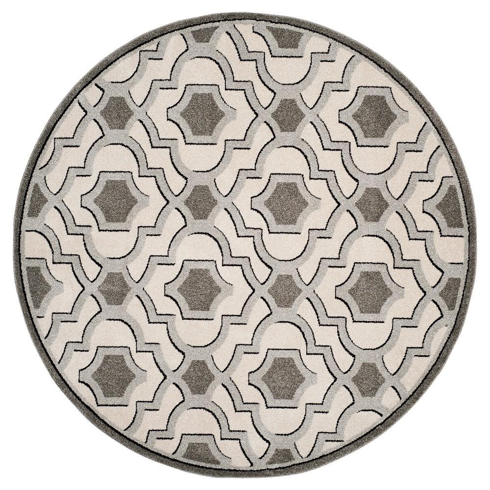 Ivory/Gray Geometric Loomed Round Area Rug - (7' Round) - Safavieh, White